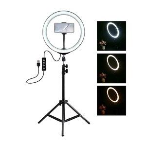 Image 2 - PULUZ photographie LED Selfie anneau lumière 10 pouces Dimmable caméra téléphone anneau lampe avec support trépieds pour maquillage vidéo Studio en direct