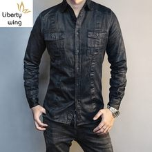 Spring 2020 Vintage Washed Casual Safari Style Single Breasted Long Sleeve Shirt Brand Business Tops Blouse Men S-2XL(China)