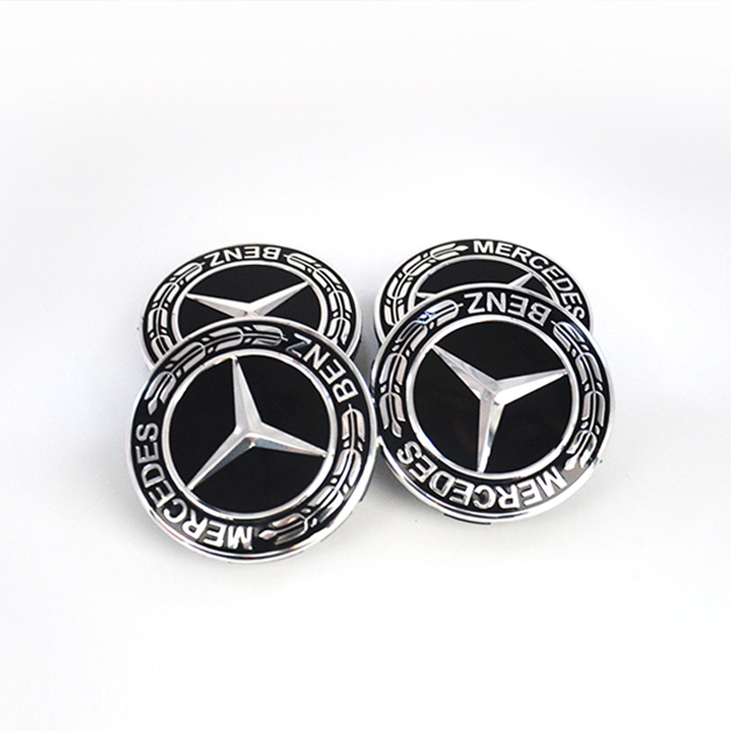 4 PCS 75mm Car Emblem Badge Sticker Wheel Centre Caps Hubcap For <font><b>Mercedes</b></font> benz A B R G Class GLK GLA E200 C200L <font><b>C300</b></font> Car styling image