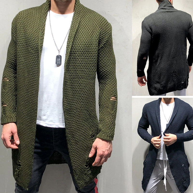 Knitted Cardigan Sweater Men Casual Male Long Jacket Coat Shawl Collar Open Front Sweaters Mens Knitwear Cardigans Pull Homme
