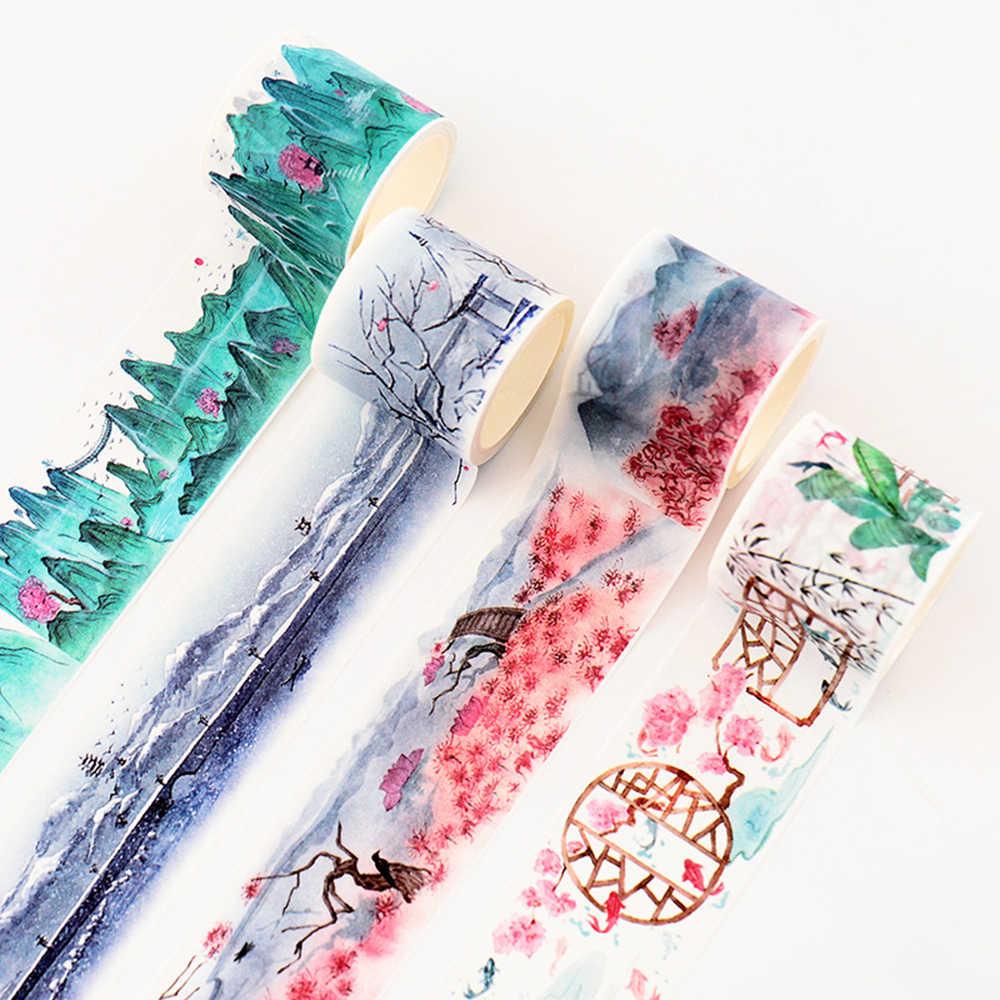 Paysage chinois fleurs plantes Vintage décor décoration Washi ruban bricolage planificateur journal Scrapbooking ruban de masquage
