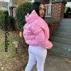 Fashion Cute Women Bright PU Pink Puffer Jacket Winter Warm Bubble Coats Shiny Leather Parkas Down Zipper Cropped Jackets Parkas 2