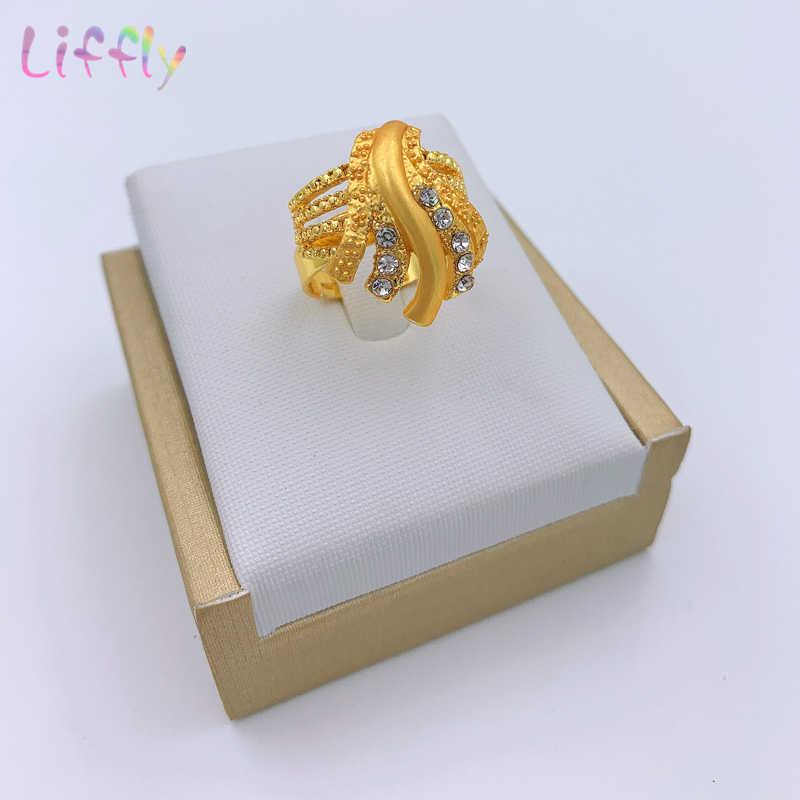 Liffly, conjuntos de joyería africana de Dubái para boda, collar grande de cristal, pendientes, anillo, pulsera, mujer nigeriana, moda de boda, joyería de oro