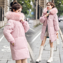 2019Winter Women Long Jackets Fashion Thick Warm Big Fur Collar Hooded
