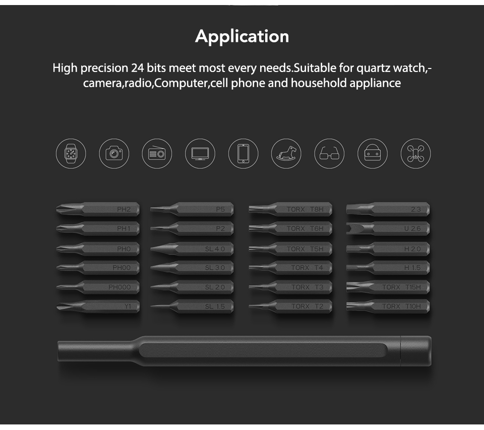 Original Xiaomi Mijia Wiha 24 in 1 Precision Screw Driver Kit 60HRC Magnetic Bits Xiaomi Home Kit Repair Tools Xiomi Xaomi (5)