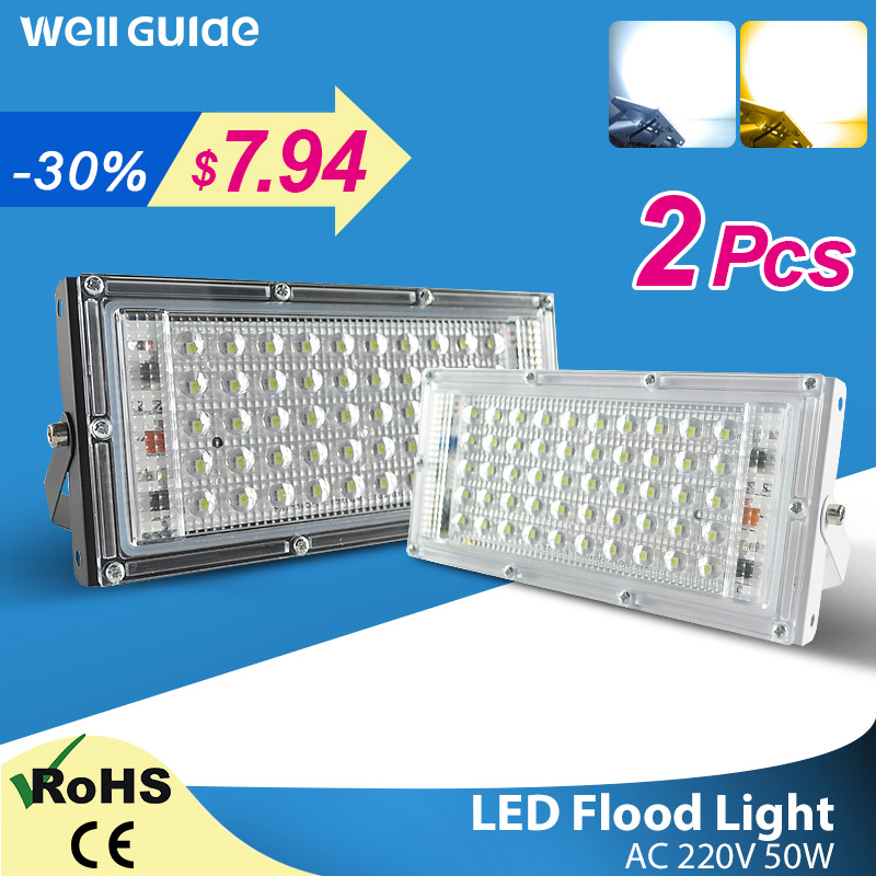 LED Flood Light 50W Outdoor Floodlight 3000k 6000k AC 220V 240V COB chip LED street Lamp waterproof IP65 outdoor Lighting