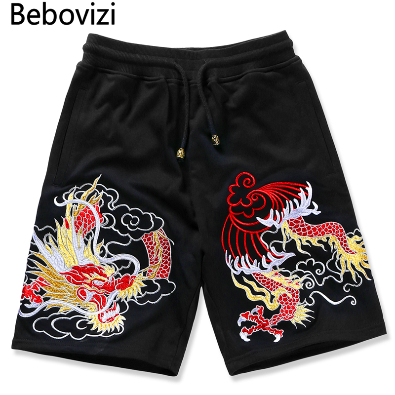 Bebovizi Japanese Style Shorts Men Bermuda Beach Knee-length Shorts Hip Hop Street Summer Chinese Dragon Sweatpants