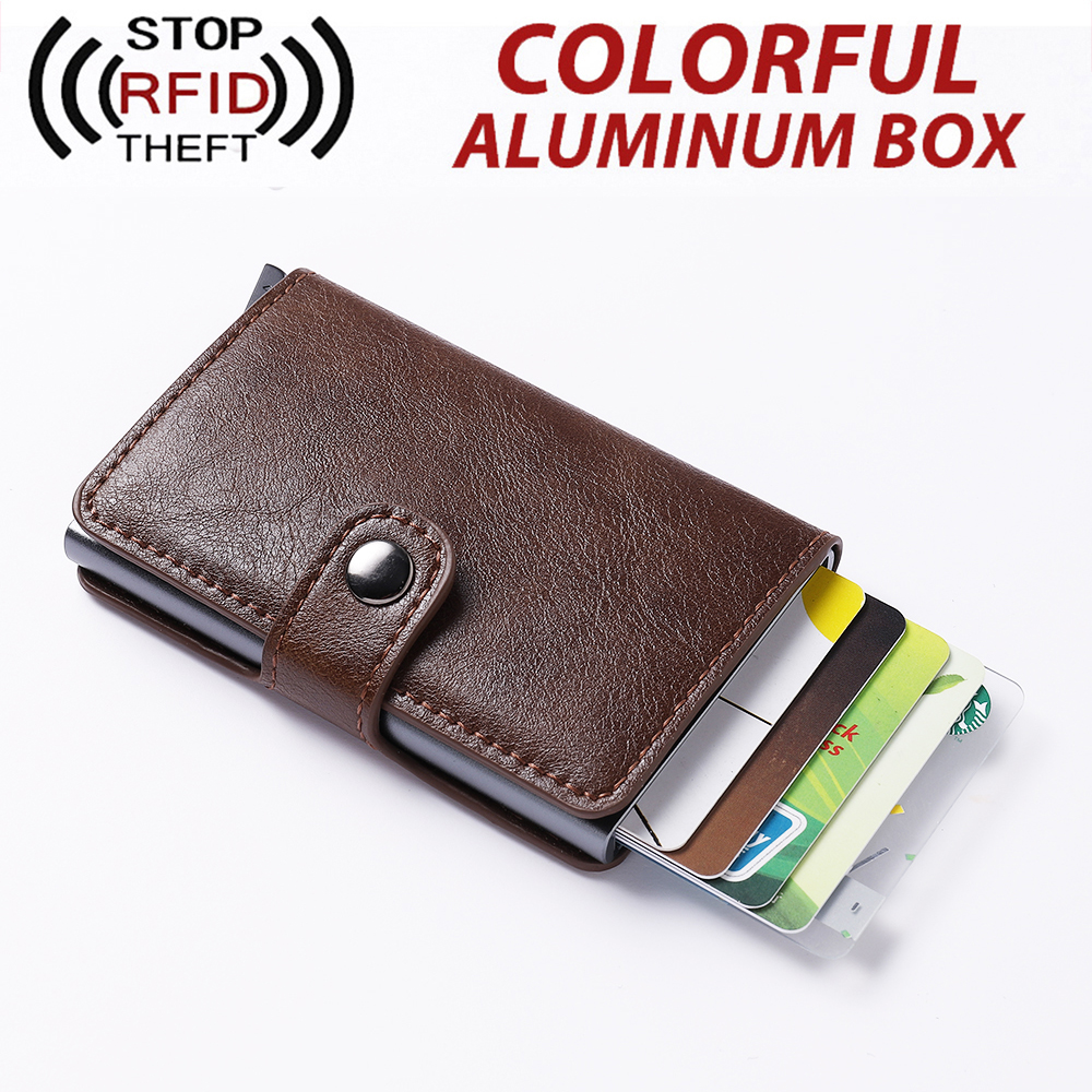 Men Card Holder RFID Blocking Colorful Box Wallet Aluminium Women Cardholder Business Credit ID Card Holder Men Purse