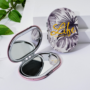 Image 2 - Vicney 2019 New Creative Mini Oval Makeup Mirror Compact Pocket Mirror Double Sided Fashion Classic Portable Makeup Mirror
