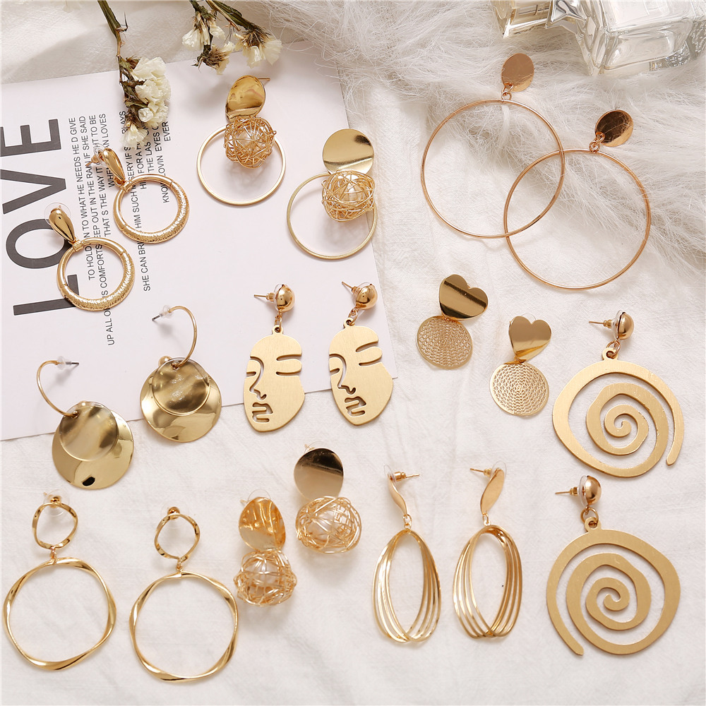 IF YOU Vintage Metal Geometric Drop Earrings For Women Gold Color Hollow Round Statement Hanging Fashion Dangle Earring Jewelry