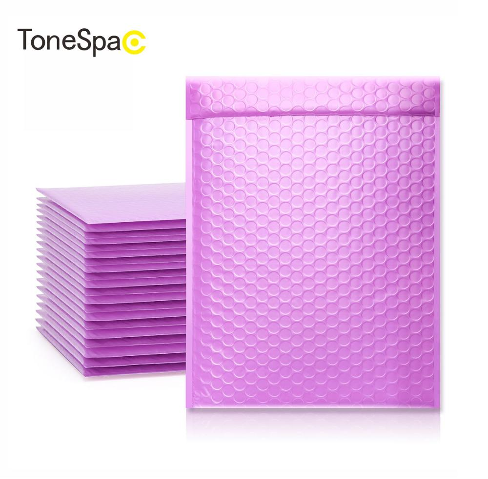 TONESPAC 190*260mm 50pcs Bubble Mailer Shipping Padded Envelope Self Seal Wrap Waterproof Mailing Packaging Bags Purple