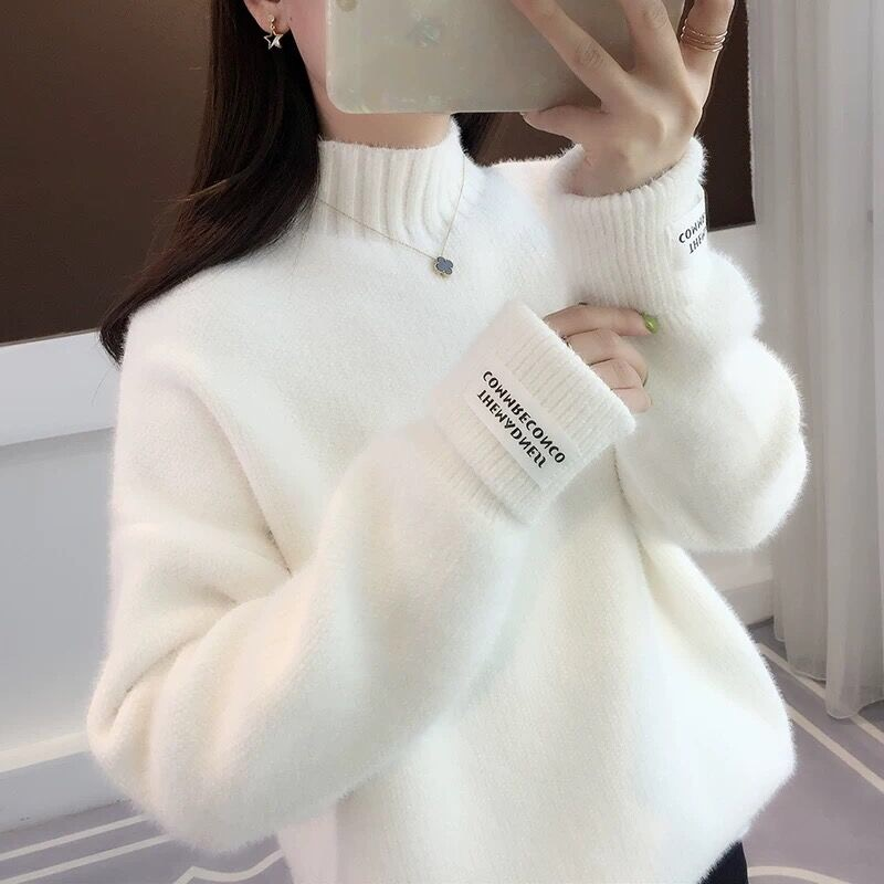 White Winter Sweater Women Letter Patchwork Turtleneck Thicken Warm Long Sleeve Knitted Pullover Sweater Jumper Elegant New V673