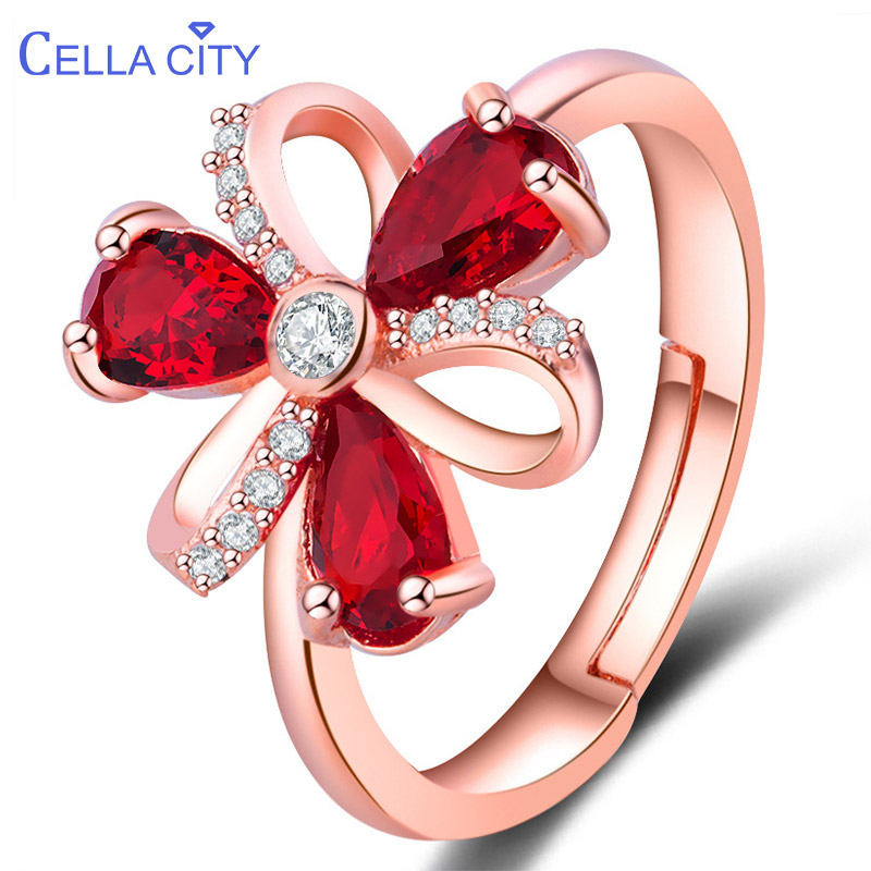 Cellacity Korean 925 Silver Ruby Ring  Silver Female Jewelry  Water Drop Shaped Ruby Gemstomes  Women Fashion Jewelry Wholesale
