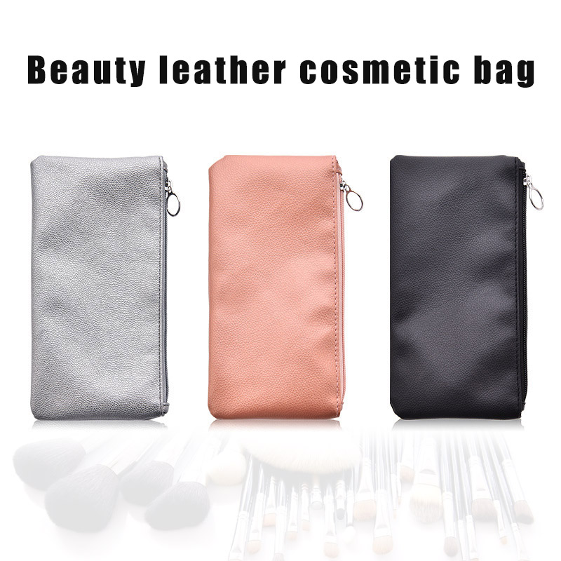 Fashion Leather Makeup Bag Women's Simple Multifunctional Portable Lightweight Cosmetic Bag Storage Bag image