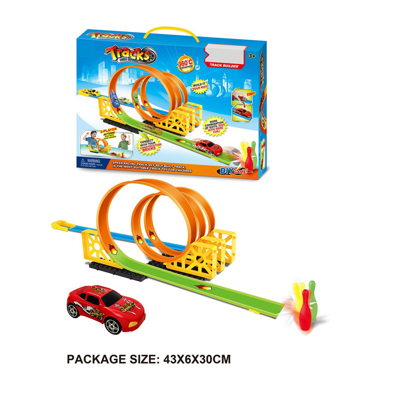 Children Speed Warrior Camera Track Car Assembled Camera Track Pull Back Car High-Speed Race Car Ejection Straddle Carriers Came