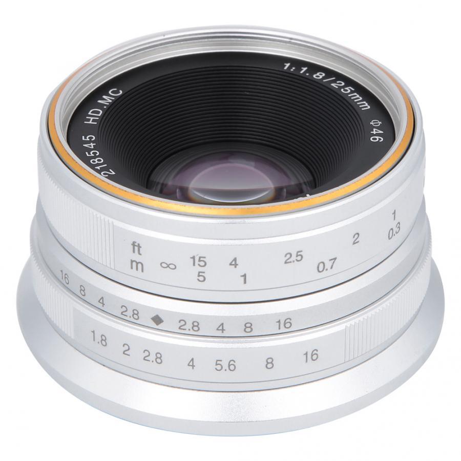 Adaptateur d'objectif 7 artisans 25mm F1.8 objectif de mise au point manuelle pour Sony E/Canon EOS-M/Fuji FX/M4/3 montage macro anneau