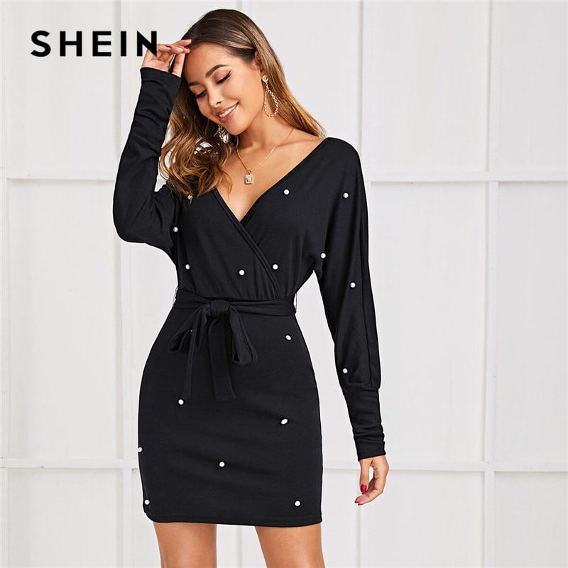 SHEIN noir profond col en V perles perles ceinture élégante robe femmes 2019 automne taille haute chauve-souris manchon robes moulantes