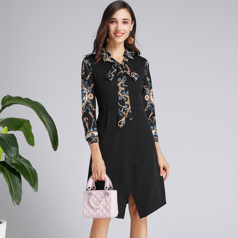 2019 New Spring Autumn Women Black Casual Dress Seven-point Sleeves Slim Waist Ladies Mid Dress Floral Printed Bow Office Dress