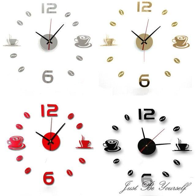 New Hot Clock Watch Wall Clocks Horloge 3d Diy Acrylic Mirror Stickers Home Decoration Living Room Quartz Needle reloj de pared 6