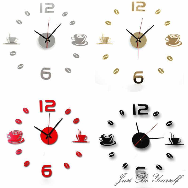 Horloge murale 3d avec miroir en acrylique   Nouvelle collection, tendance, bricolage, décoration de maison, salon, Horloge à Quartz