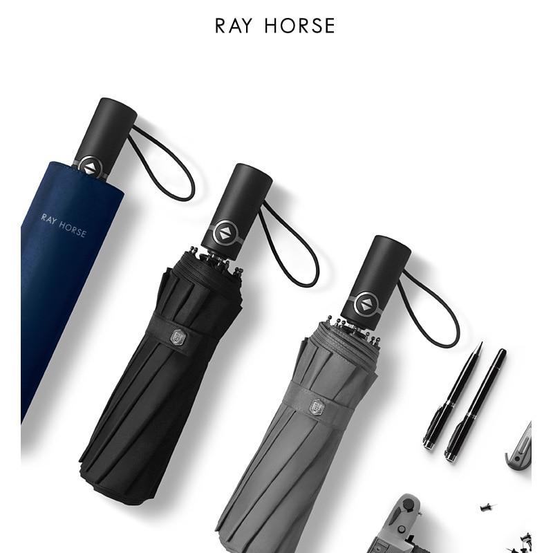 Ray Horse 12 Bone Fully Automatic Vinyl Folding Men Business Umbrella Windproof Reinforced Rain Or Shine Dual Purpose Umbrella