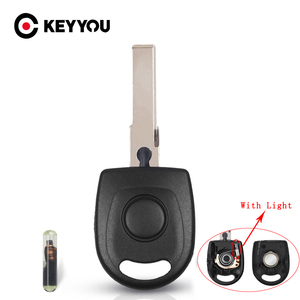 KEYYOU For VW Polo Golf For SEAT Ibiza Leon For SKODA Octavia Car Key Shell Case ID48 Chip With Light & Battery Uncut HU66 Blade