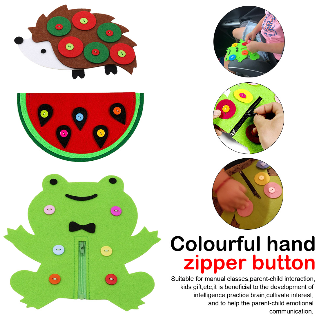 1PC Hand Zipper Button Teaching Kindergarten Manual Diy Weave Cloth Early Education Toys Teaching Aids Math Toys