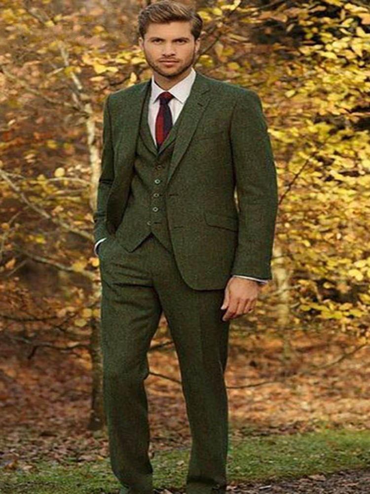 Man 3Pcs Dark Green Slim Fit Suit Vintage Tweed Groom Tuxedos Formal Suit Custom