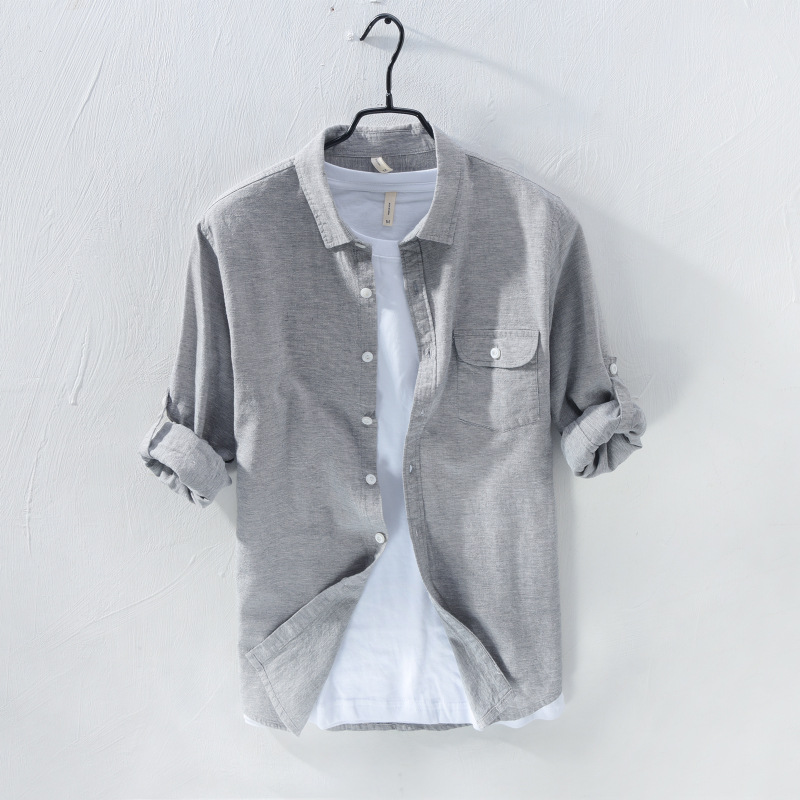 730 Spring New Style Men Cotton Linen Long-sleeved Shirt Loose-Fit Solid Color Linen Shirt