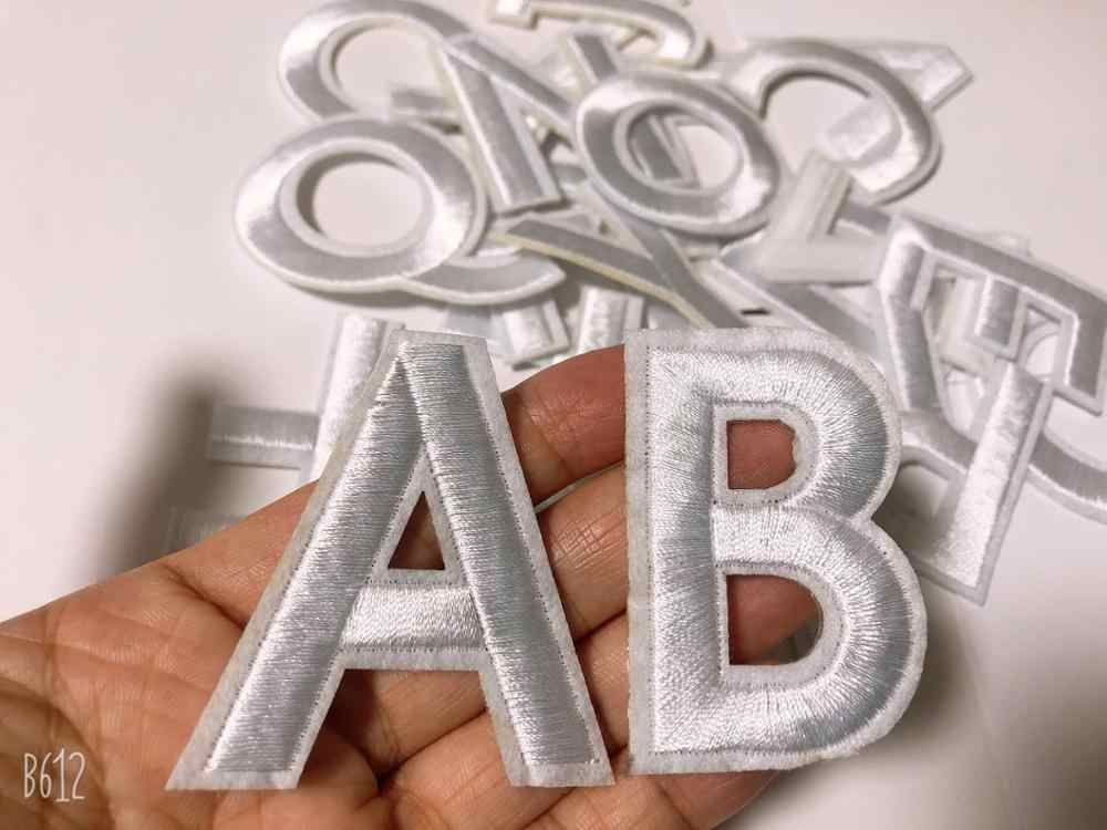 Witte Letters Patch Alfabet Geborduurde Applique Letters Iron On Patches