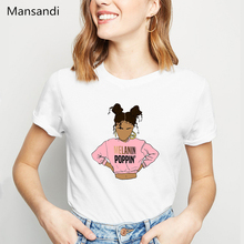 Melanin Poppin Female T-shirt Summer tops Harajuku Kawaii Aesthetic clothes T Shirt Women New Arrival White tshirts streetwear