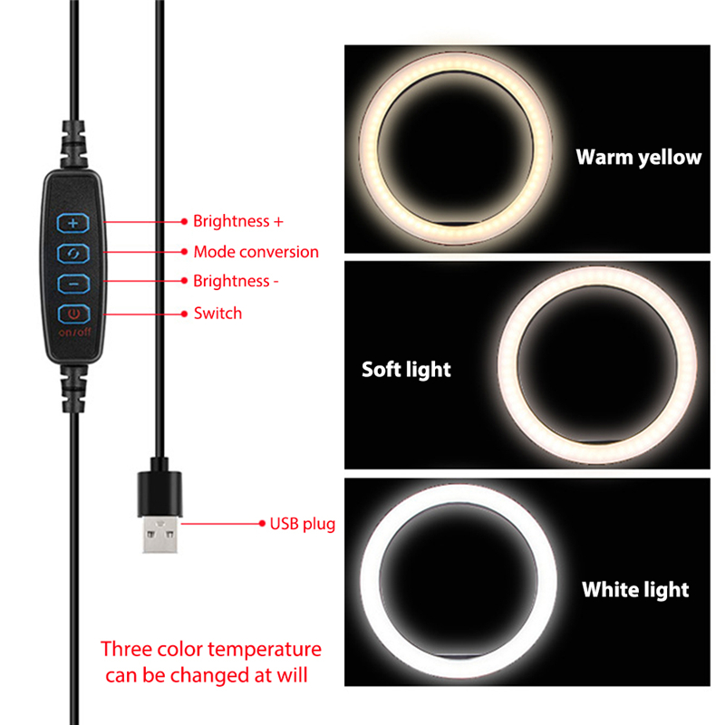 cheapest 10 Inch Ring Fill Light Mobile Phone Flashes Adjustable Brightness  for Live Broadcast Selfie Beauty Makeup Photography