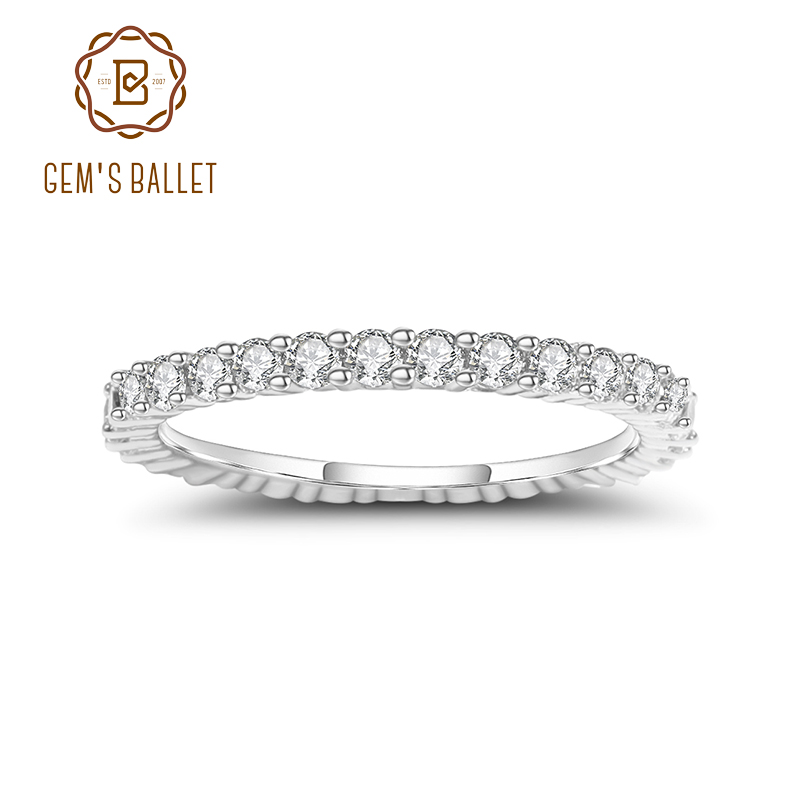 Bague de mariage femme GEM'S BALLET 925 bague de mariage en argent Sterling éternité Moissanite bague bijoux fins (0.87Ct 2mm EF couleur)