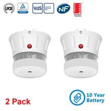 CPVan 2 sztuk/partia detektor dymu 10 lat baterią CE Certifed EN14604 czujnik dymu czujnik detektora alarm przeciwpożarowy dla bezpieczeństwo w domu