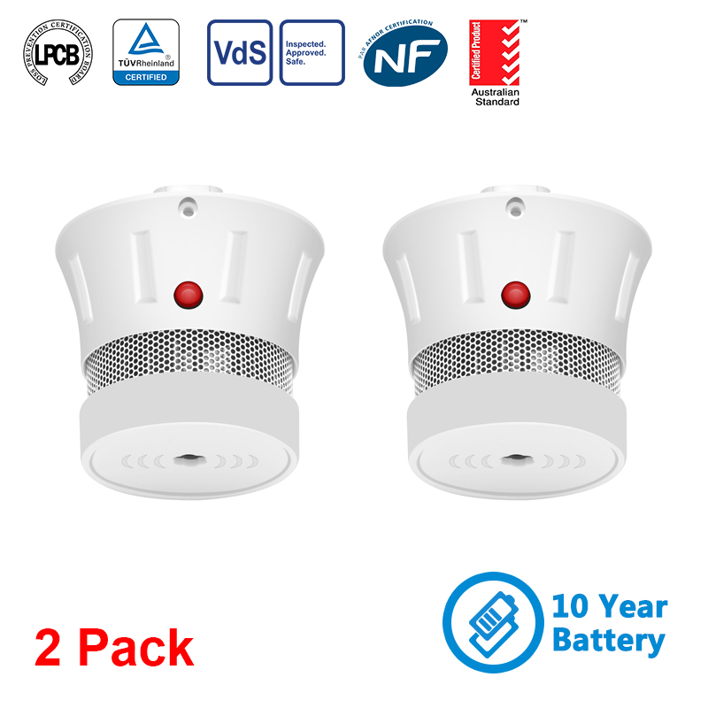 CPVan 2pcs/Lot Fire Smoke Detector 10 Years Battery Smoke Alarm Portable Alarm Sensor Alarm Fire For Home Security Alarm System