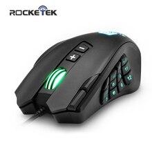 Rocketek USB 유선 게임용 마우스 16400 인치 당 점 16 버튼 노트북 PC 컴퓨터 용 인체 공학적 백라이트가있는 레이저 프로그래머블 게임 마우스