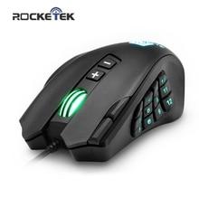 Rocketek usb 有線ゲーミングマウス 16400 dpi 16 ボタンレーザープログラマブルゲームとバックライト人間工学ラップトップ pc のコンピュータ