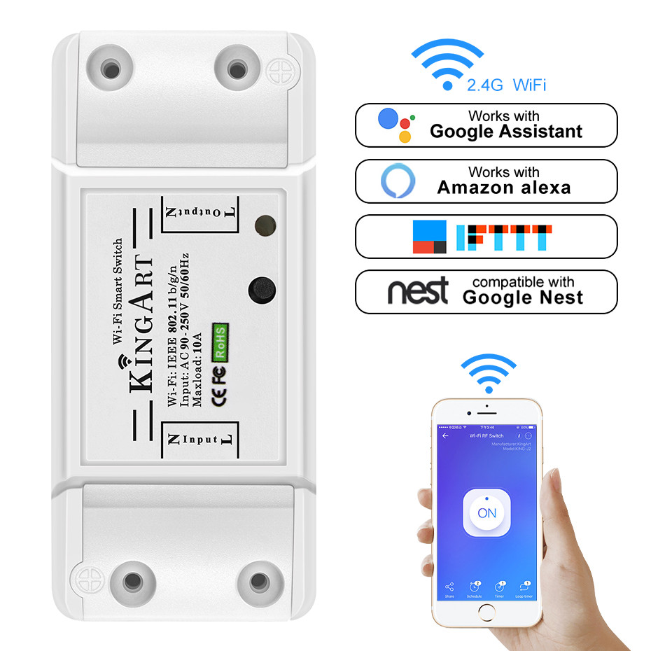 WIFI Smart Switch IOS/Android OS APP Remote Control Through EWeLink Turn ON/OFF Home Appliances 220V WIFI Smart Switch Accessory