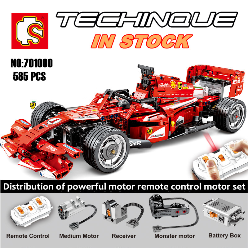 New <font><b>701000</b></font> Technology Series Monster motor Ferraried FRR-F1 Formula Racing Particle Building Blocks bricks toys image