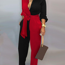 Red Black Patchwork Jumpsuit Women Sashes Self Tied Waist Long Sleeve J