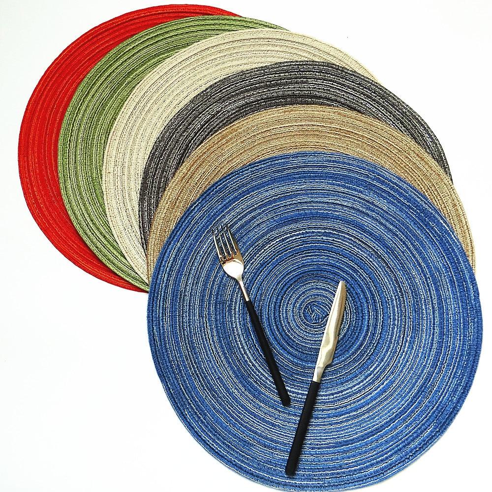Coaster Настольный коврик рами утеплитель сплошной круглый дизайн салфетки льняные Нескользящие кухонные аксессуары