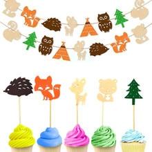 8 個ケーキトッパーウッドランドクリーチャーバナーハッピーバースデーベビーシャワー子供お気に入り森林動物パーティーの装飾