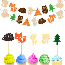 8pcs Cake Topper Woodland Creature Banner Happy Birthday Baby Shower Kids Favorite Forest Animal Party Decorations