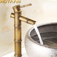 Grifo de lavabo antiguo de latón estilo bambú, grifo de fregadero de cobre con acabado de bronce Vintage, manija única, Grifo de Agua Fría y caliente