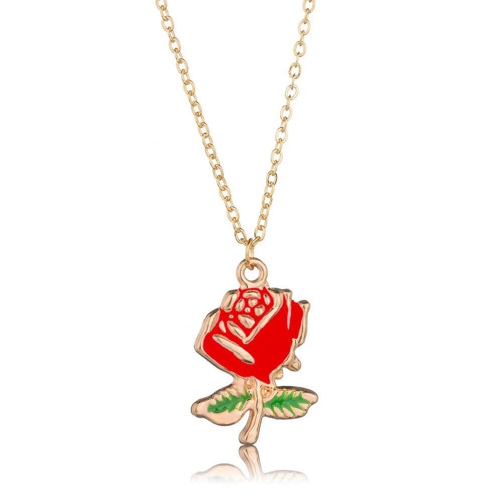 Double Layer CHAIN สีแดง Rose ดอกไม้สร้อยคอผู้หญิง Choker GOLD สีดอกไม้จี้สร้อยคอ Bijoux Boho Charm เครื่องประดับ