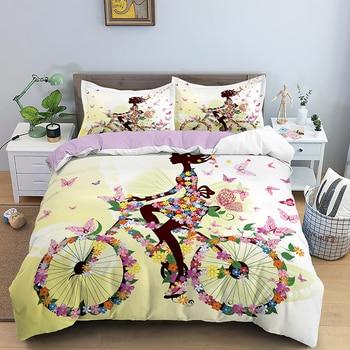 Girl Riding Bicycle Bedding Set