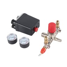 40343 Adjustable Pressure Switch Air Compressor Switch Pressure Regulating with 2 Press Gauges Valve Control Set 0 0 4mpa 24v dc hydraulic air compressor digital pressure switch m20 x 1 5