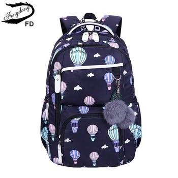 Fengdong cute backpack waterprof nylon school for children bags girls child bookbag female travel laptop bag - discount item  56% OFF School Bags