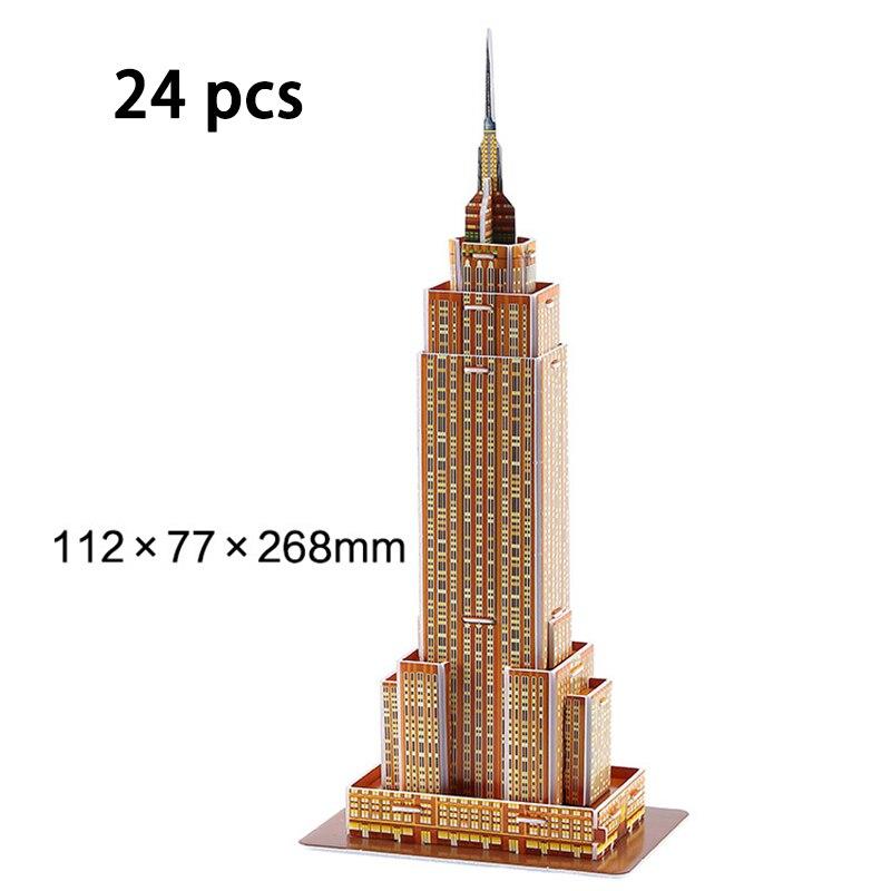 DIY Architecture 3D Cardboard Puzzle Toys Notre Dame de Paris Eiffel tower Vasily Cathedral World Famous Architectural Model Toy 6