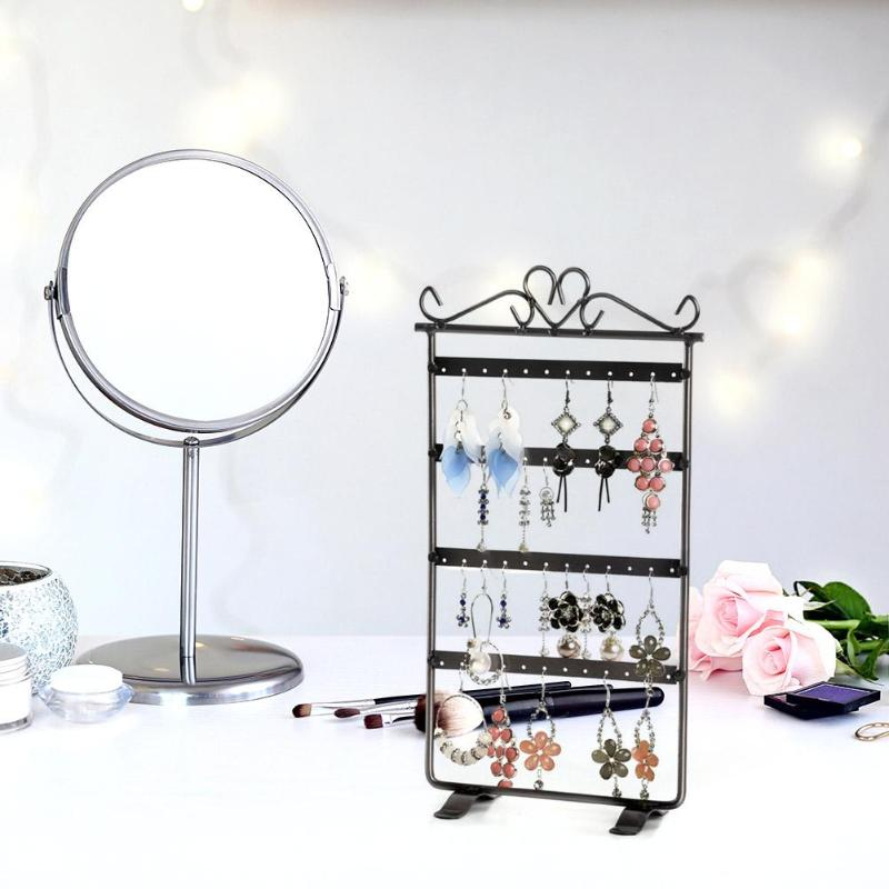 48 Hole Earrings Holder Ear Studs Display Rack Metal Jewelry Holder Stand Showcase Metal Iron Bracelet Jewelry Organizer 295*160